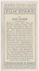 Joan Marsh 1934 John Player Film Stars Tobacco Card 2nd Series #31
