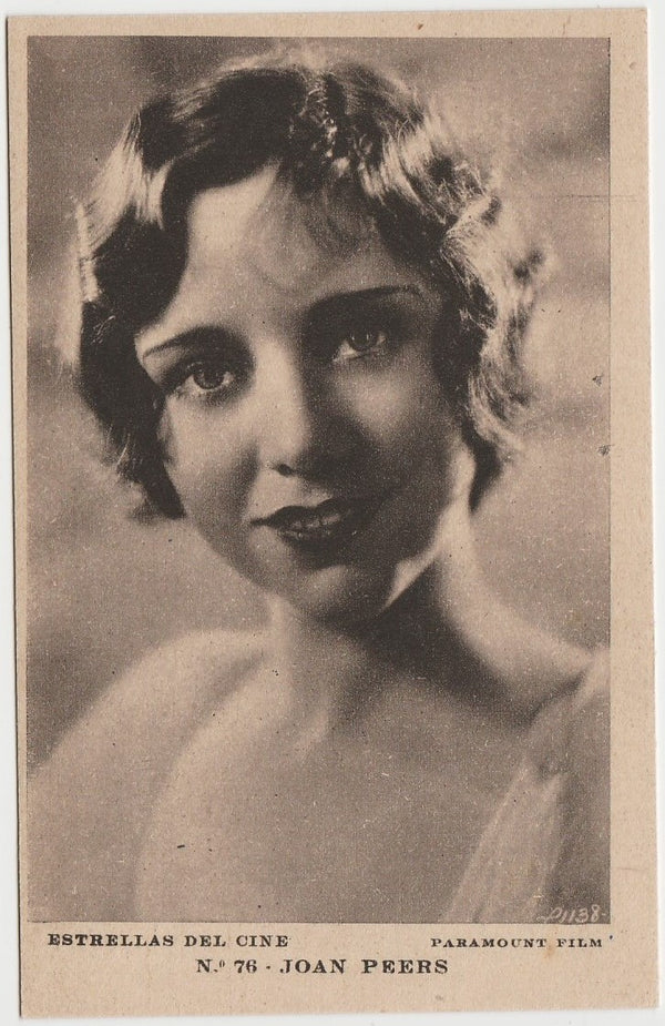 JOAN PEERS Vintage 1930s Estrellas del Cine POSTCARD from Spain #76
