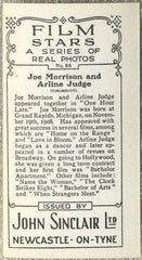 Joe Morrison + Arline Judge 1937 John Sinclair Film Stars Tobacco Card #68