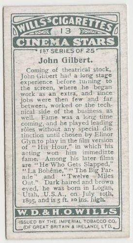 John Gilbert 1928 Wills Cinema Stars Tobacco Card Series 1 #13