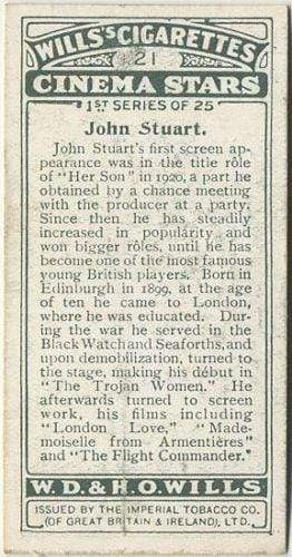 John Stuart 1928 Wills Cinema Stars Tobacco Card Series 1 #21