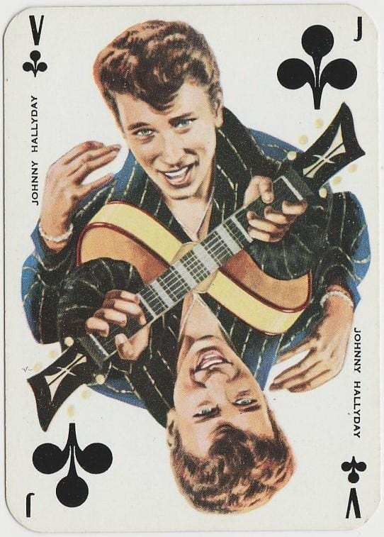 Johnny Hallyday 1950s Singer and Film Star on Blue Stallion Back Playing Card