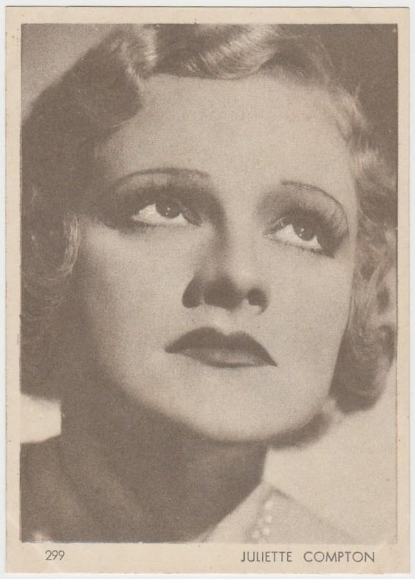 Juliette Compton 1930s Aguila Large Paper Stock Trading Card #299