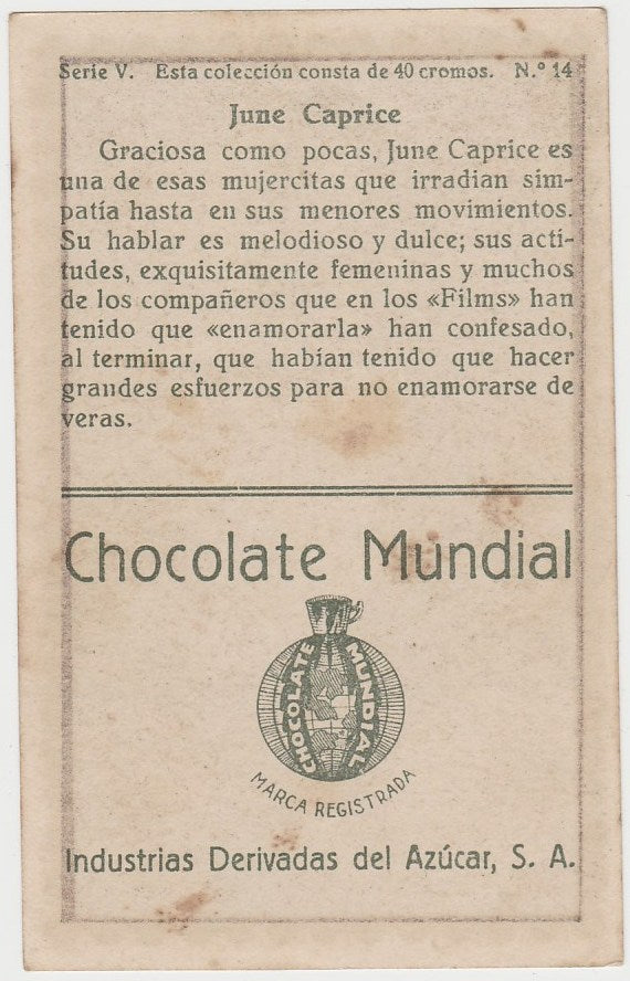 June Caprice 1920s Chocolate Mundial Paper Stock Trading Card #14