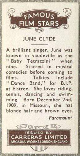 June Clyde 1935 Carreras Famous Film Stars Tobacco Card #42