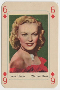 June Haver Vintage 1950s Maple Leaf Playing Card of Film Star