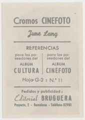 June Lang 1930s Editorial Bruguera Cinefoto Paper Stock Trading Card #11
