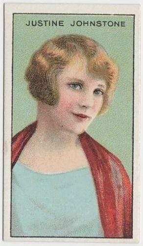 Justine Johnstone 1929 United Tobacco Movie Star Tobacco Card - BAT Flag Back