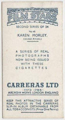 Karen Morley 1938 Carreras Film Stars Trading Card Second Series #40