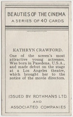 Kathryn Crawford 1939 Rothmans Beauties of the Cinema Movie Star Trading Card