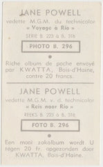 Jane Powell 1948 Kwatta Colorful Paper Stock Trading Card #B-296