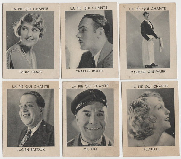 Lot of 6 Rare 1930s LA PIE QUI CHANTE Trading Cards -Florelle Chevalier Boyer
