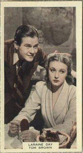 Laraine Day + Tom Brown 1939 A & M Wix Film Favourites Tobacco Card #5