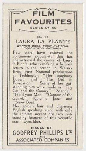 Laura La Plante 1934 Godfrey Phillips Film Favourites Tobacco Card #12