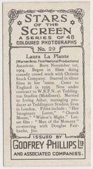 Laura La Plante 1936 Godfrey Phillips Stars of the Screen Tobacco Card #29
