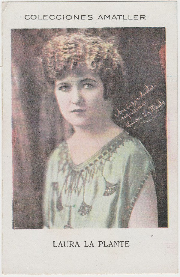 Laura La Plante 1920s Chocolate Amatller Trading Card from Spain #Q-22-54