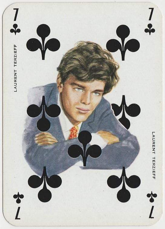 Laurent Terzieff 1950s Film Star on Blue Stallion Back Playing Card