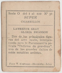 Gloria Swanson + Lawrence Gray 1920s Super Cigarrillos Trading Card #0-31