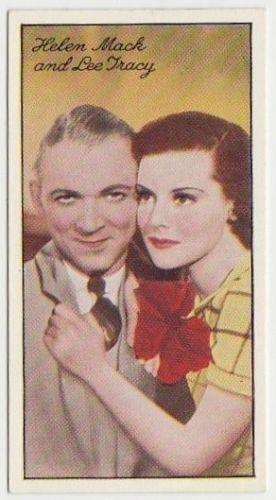 Lee Tracy + Helen Mack 1935 Carreras Famous Film Stars Tobacco Card #90