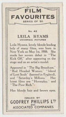 Leila Hyams 1934 Godfrey Phillips Film Favourites Tobacco Card #42