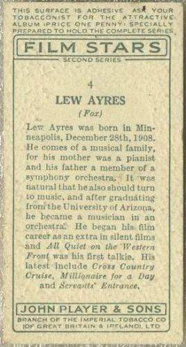 Lew Ayres 1934 John Player Film Stars Tobacco Card 2nd Series #4