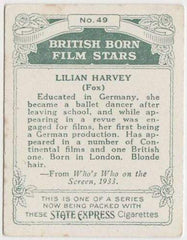 Lilian Harvey 1934 ARDATH British Born Film Stars Tobacco Card #49 LARGE