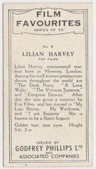 Lilian Harvey 1934 Godfrey Phillips Film Favourites Tobacco Card #9