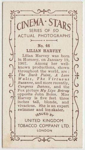Lilian Harvey 1934 United Kingdom Tob. Co. Cinema Stars Tobacco Card #46