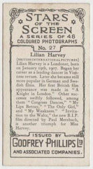 Lilian Harvey 1936 Godfrey Phillips Stars of the Screen Tobacco Card #27