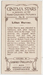 Lilian Harvey 1939 Rothmans Beauties of the Cinema Movie Star Trading Card