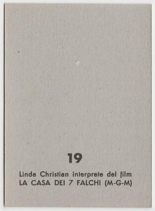 Linda Christian 1959 MGM Film Stars Trading Card from Italy #19 HOUSE OF 7 HAWKS