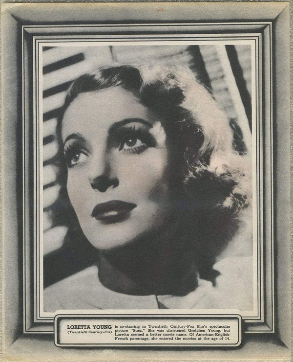 Loretta Young Vintage 1938 8x10 Paper Premium Photo - Fancy Borders plus Text