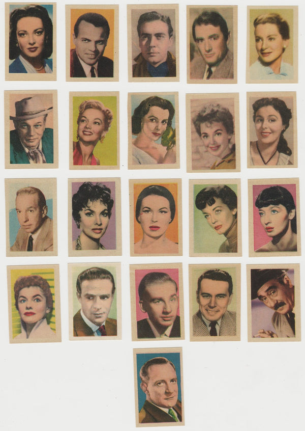 Lot of 21 Small PAPER STOCK Trading Cards 1950s FILM STARS Spain BELAFONTE PECK