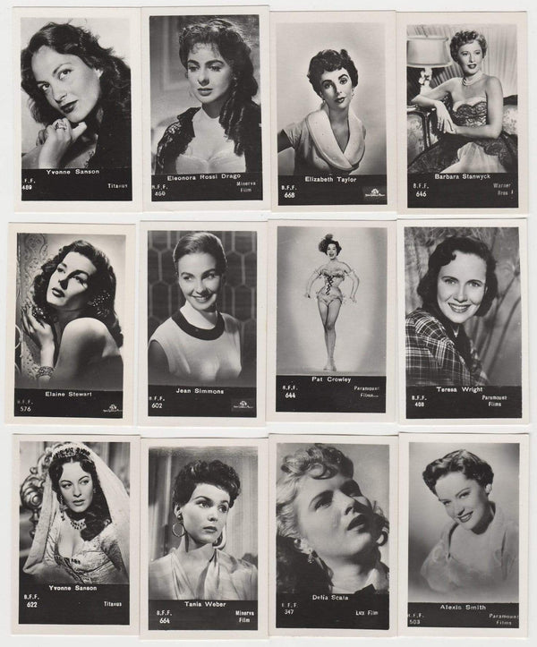 Lot of 12 - 1950s BFF Film Stars Real Photos from Italy LIZ TAYLOR Stanwyck ++