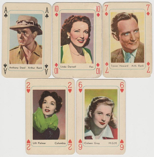 Lot of 14 1950s MAPLE LEAF PLAYING CARDS Film Stars, Includes Joker Card