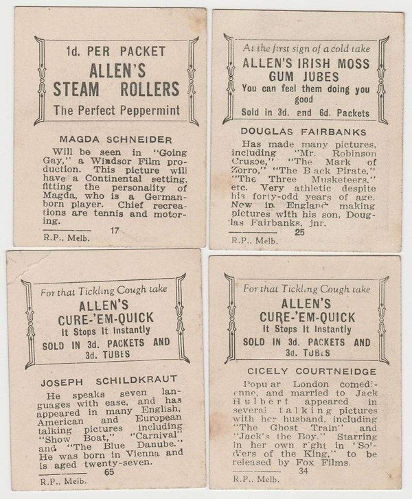 Lot of 24 - 1933 Allen's Film Stars Trading Cards - Australian Card Issue