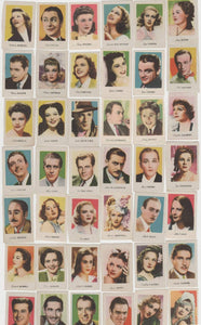 Lot of 42 Small PAPER STOCK Trading Cards 1930s FILM STARS Spain GARLAND GARBO