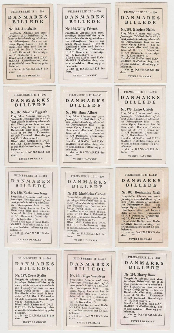 Lot of 60 Different 1936-37 DANMARKS FILM STAR Trading Cards