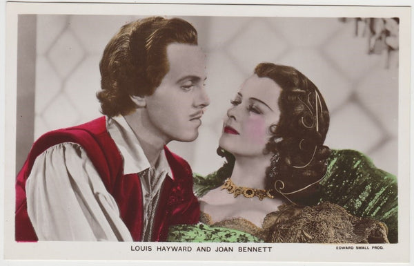 Joan Bennett + Louis Hayward Handcoloured Real Photo Postcard - Picturegoer RPPC