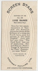 Luise Rainer 1936 Godfrey Phillips Screen Stars Trading Card #39