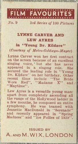 Lynne Carver + Lew Ayres 1939 A & M Wix Film Favourites Tobacco Card #9