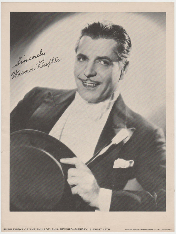Warner Baxter 1933 Date Philadelphia Record Newspaper Supplement Photo M23