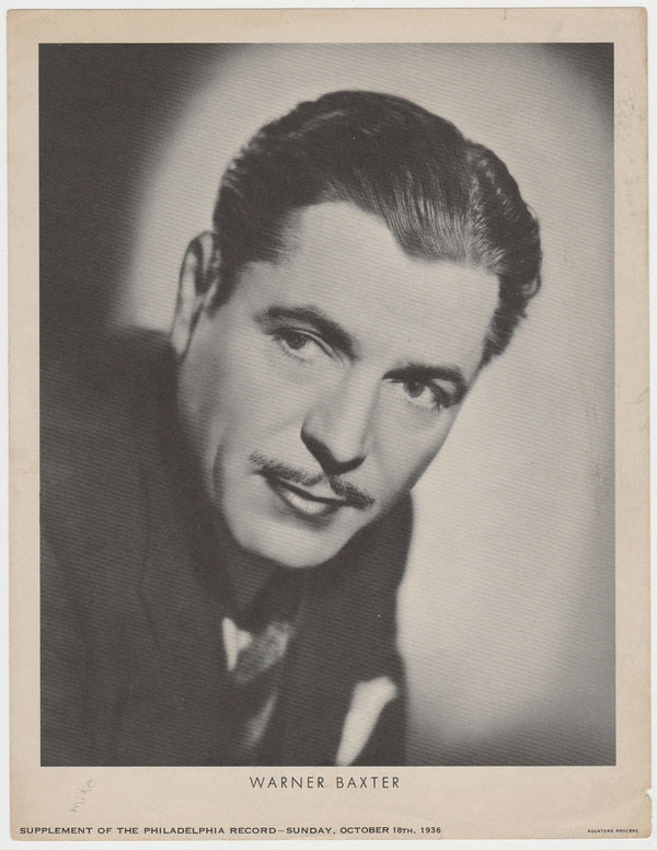 Warner Baxter 1936 Dated Philadelphia Record Newspaper Supplement Photo M23