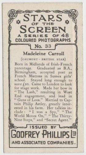 Madeleine Carroll 1936 Godfrey Phillips Stars of the Screen Tobacco Card #33