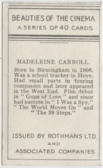 Madeleine Carroll 1939 Rothmans Beauties of the Cinema Movie Star Trading Card