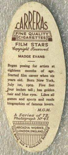 Madge Evans 1934 Carreras Film Stars Oval Tobacco Card #47