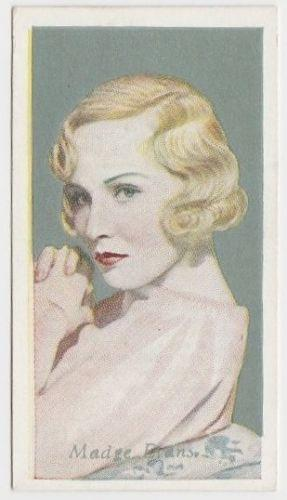 Madge Evans 1934 Godfrey Phillips Film Favourites Tobacco Card #14