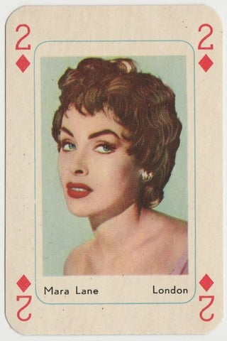 Mara Lane Vintage 1950s Maple Leaf Playing Card of Film Star