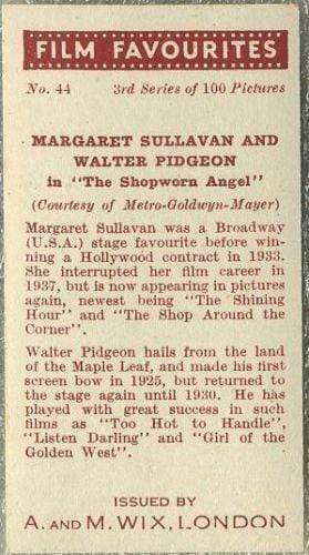 Margaret Sullavan + Walter Pidgeon 1939 A & M Wix Film Favourites Tobacco Card #44