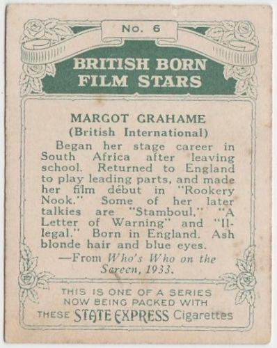 Margot Grahame 1934 ARDATH British Born Film Stars Tobacco Card #6 LARGE